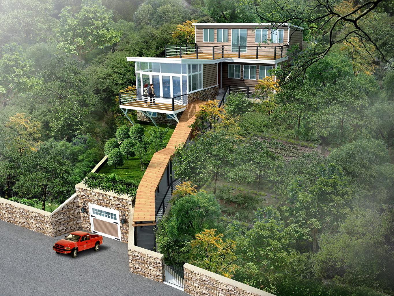 Wallpaper Nature 3d Graphics Houses Design