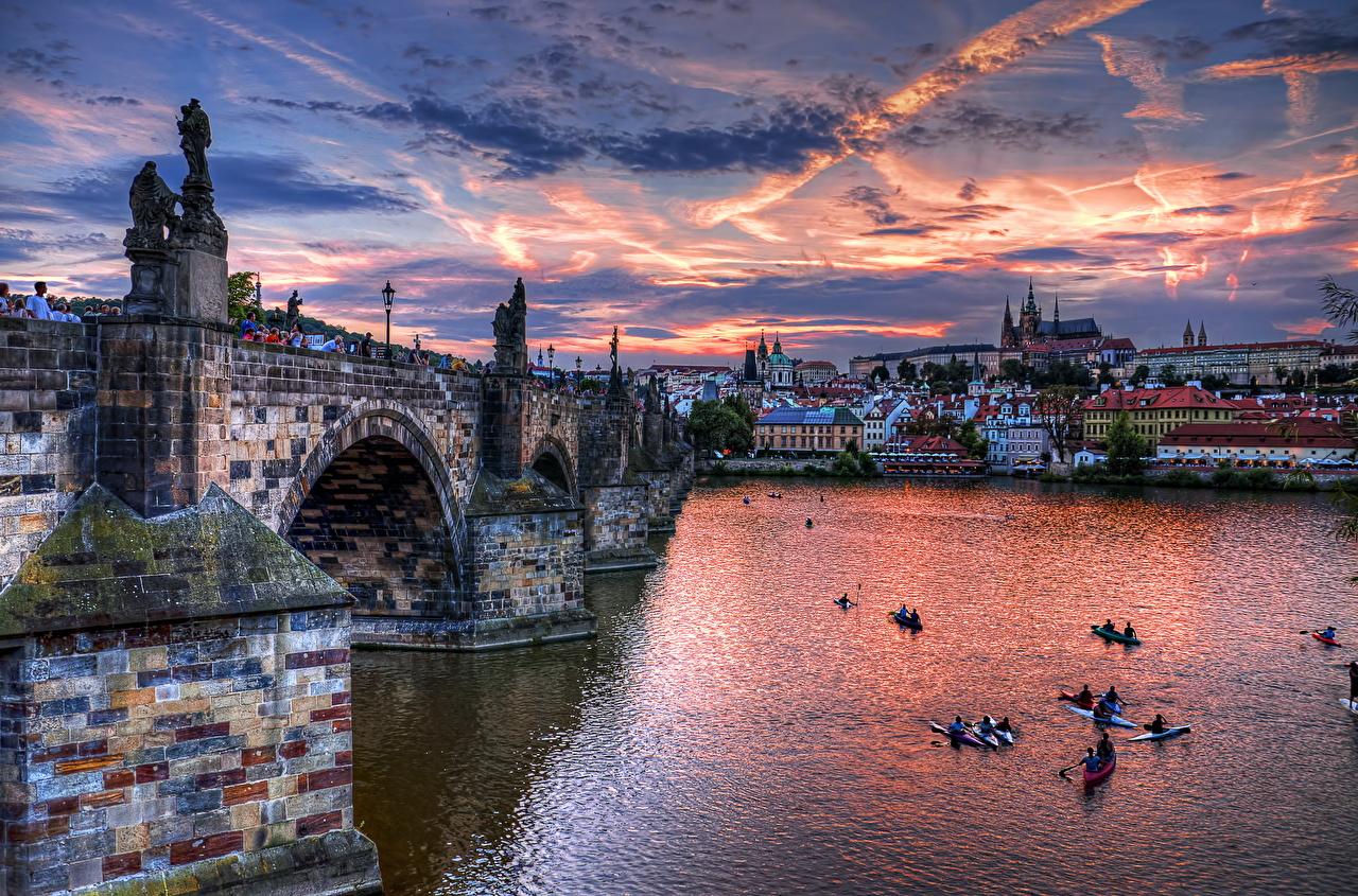 Pictures Prague Czech Republic HDR bridge Sky river Cities Clouds HDRI Bridges Rivers