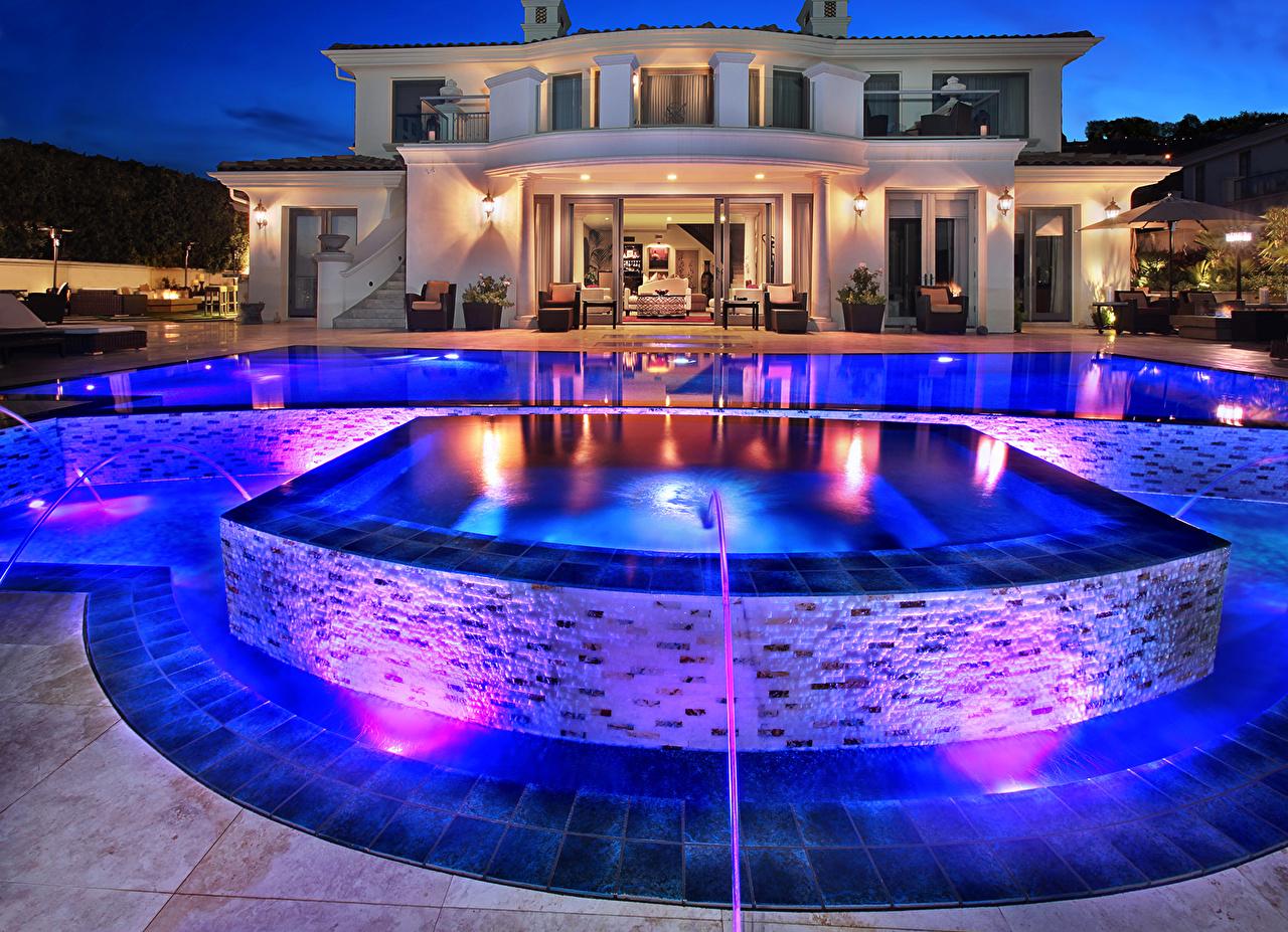 Desktop Wallpapers Villa Pools Night Cities Building Swimming bath night time Houses