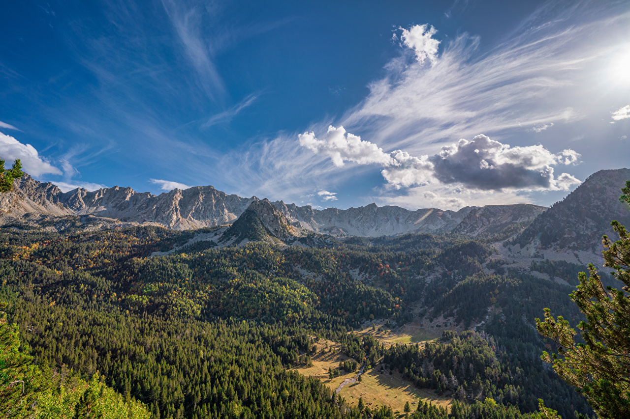 Desktop Wallpapers Andorra Pyrenees Nature mountain Sky landscape photography Clouds Mountains Scenery