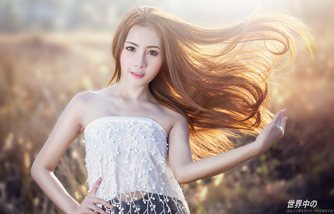 Desktop Wallpapers Brown haired Bokeh posing Hair Girls Asiatic Hands Glance blurred background Pose female young woman Asian Staring
