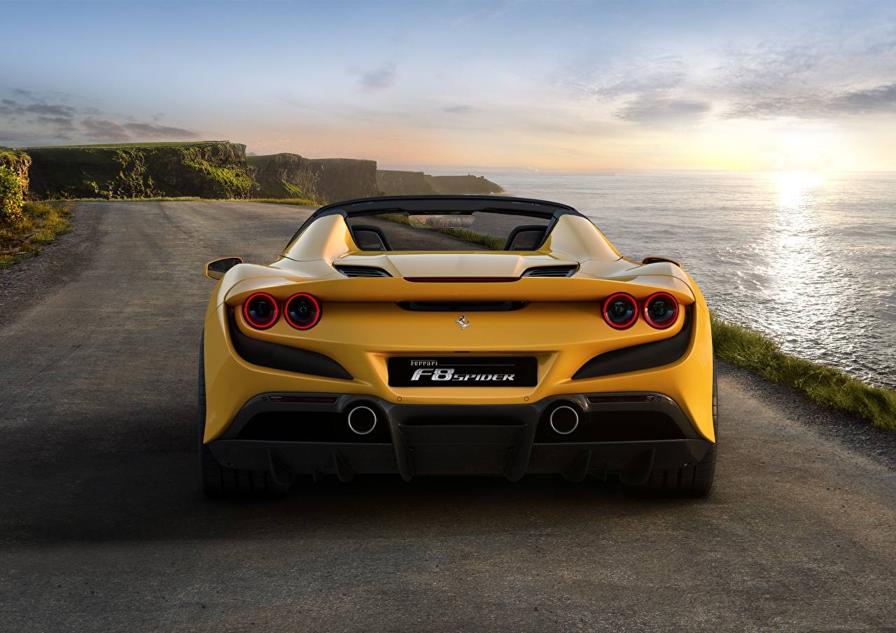 Pictures Ferrari Spider F8 Yellow Back view automobile Cars auto