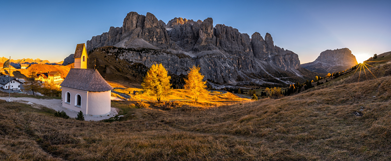 Pictures Church Alps Italy South Tyrol, panorama Nature mountain Scenery Sunrises and sunsets Mountains sunrise and sunset landscape photography