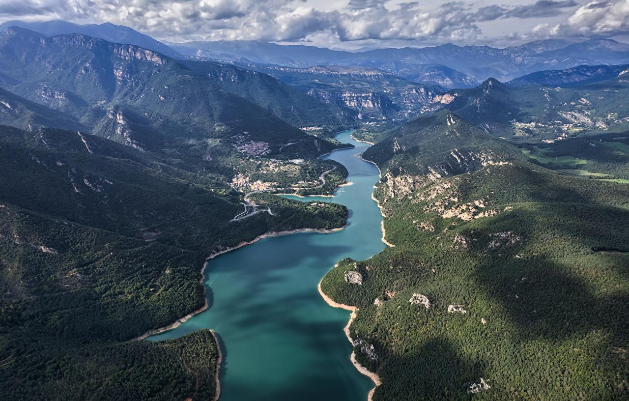 Fotos Spanien Catalonia Natur Gebirge Von oben Wolke Berg