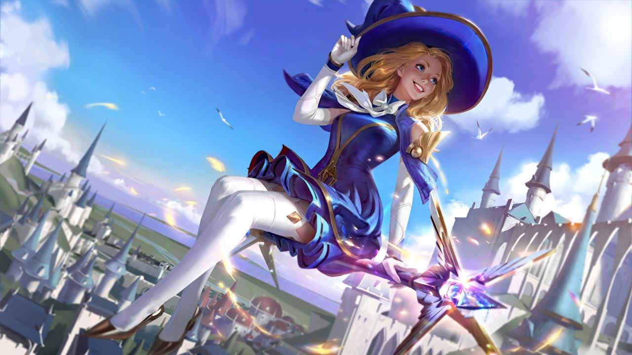 Bilder von League of Legends Hexe Nylonstrumpf Demacia, Lux Arcadia Der Hut junge Frauen computerspiel LOL Mädchens junge frau Spiele