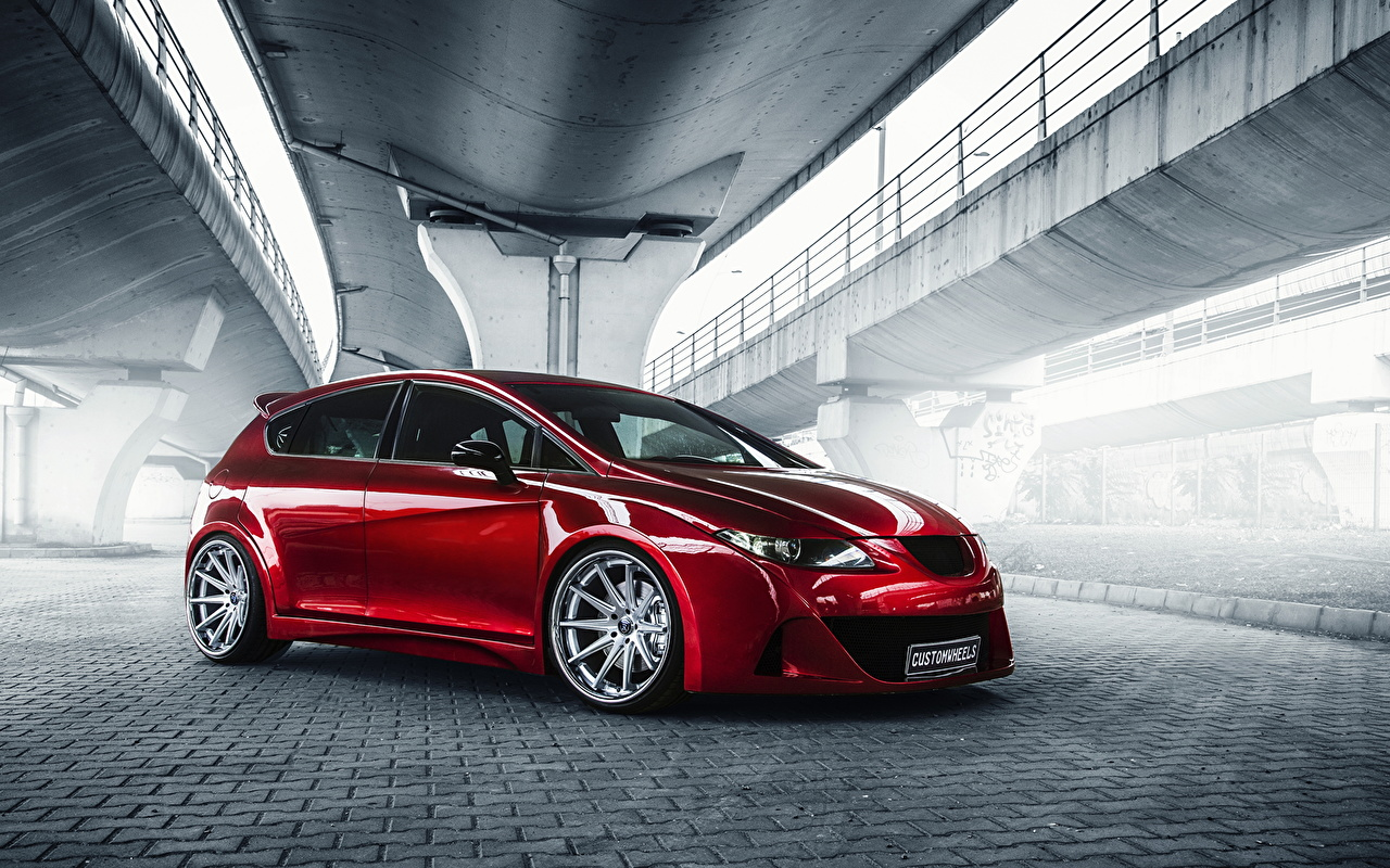 Pictures Seat Leon Red automobile auto Cars