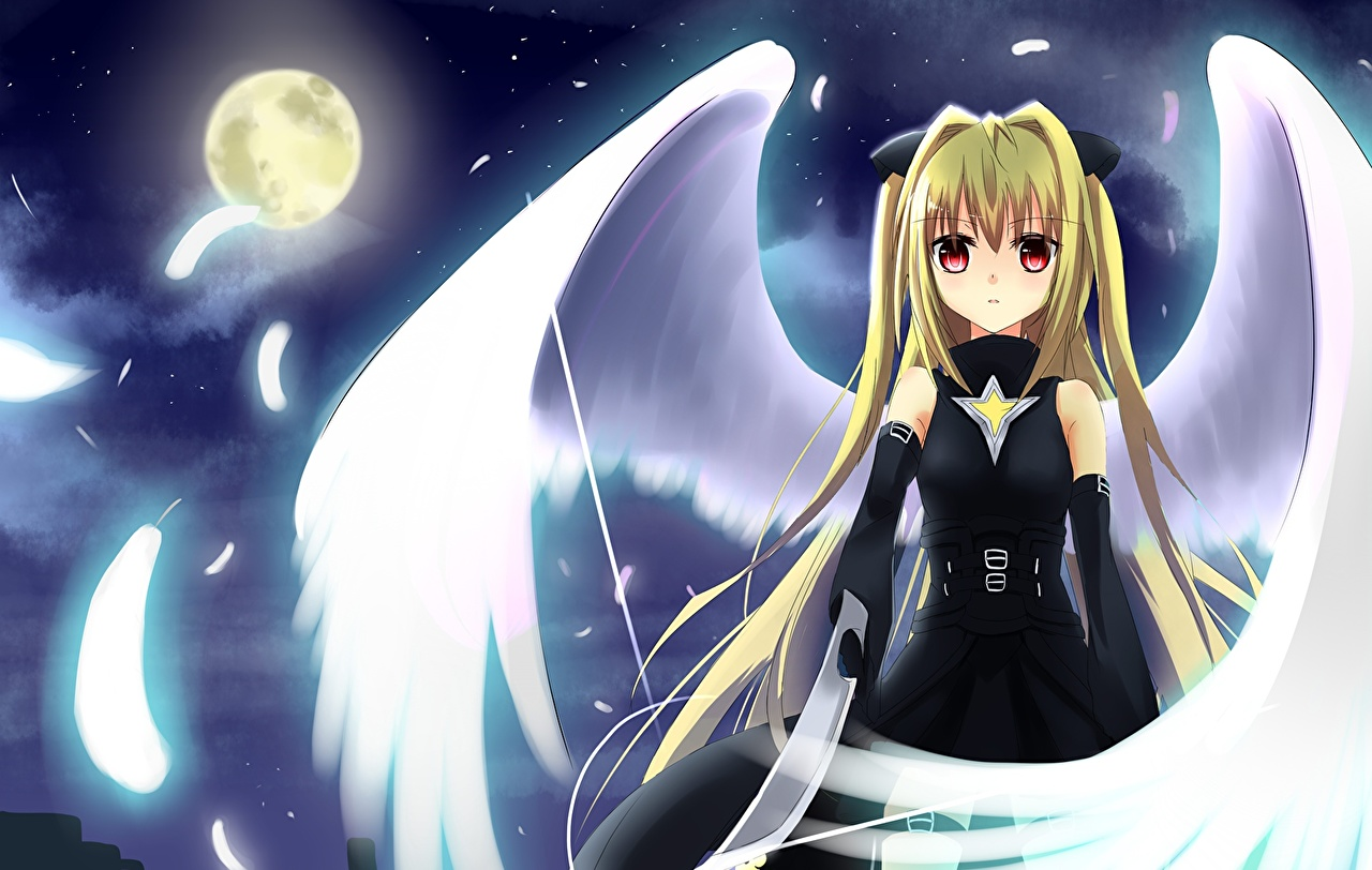 Pictures To-Love-Ru Wings Anime young woman Moon Night Glance Girls female night time Staring