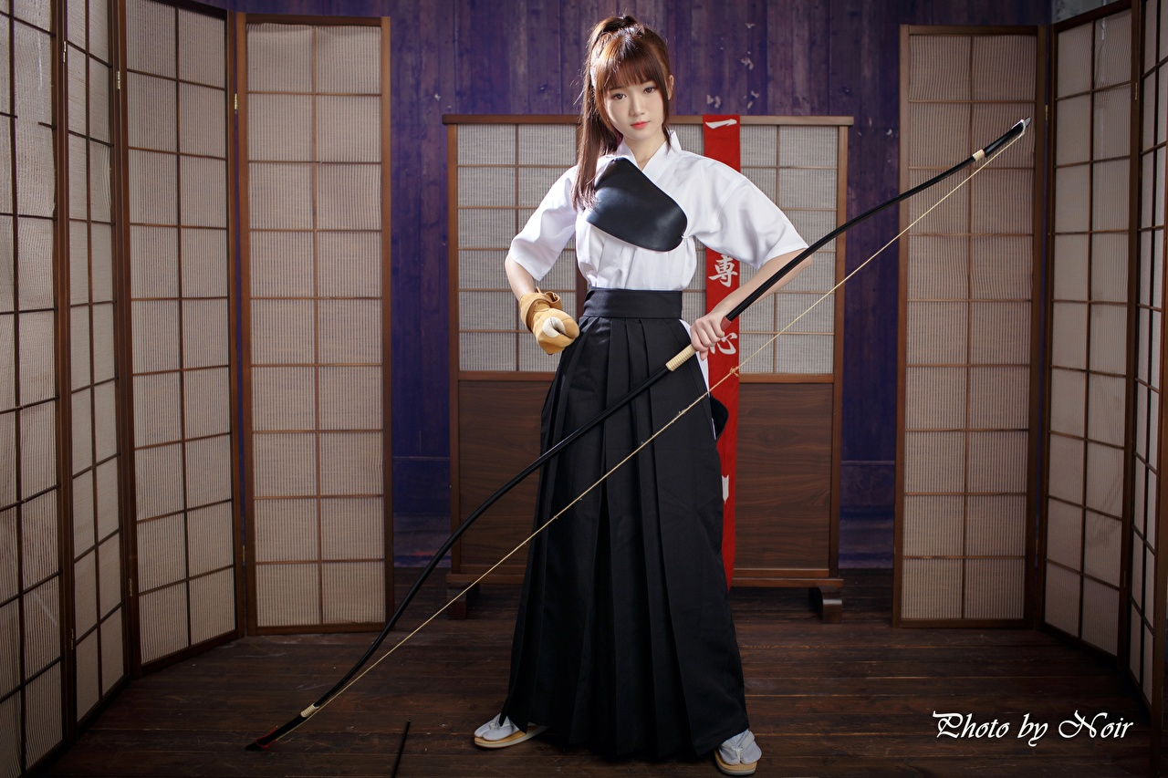 Image Archers Brown haired Bow weapon female Asian Hands Girls young woman Asiatic