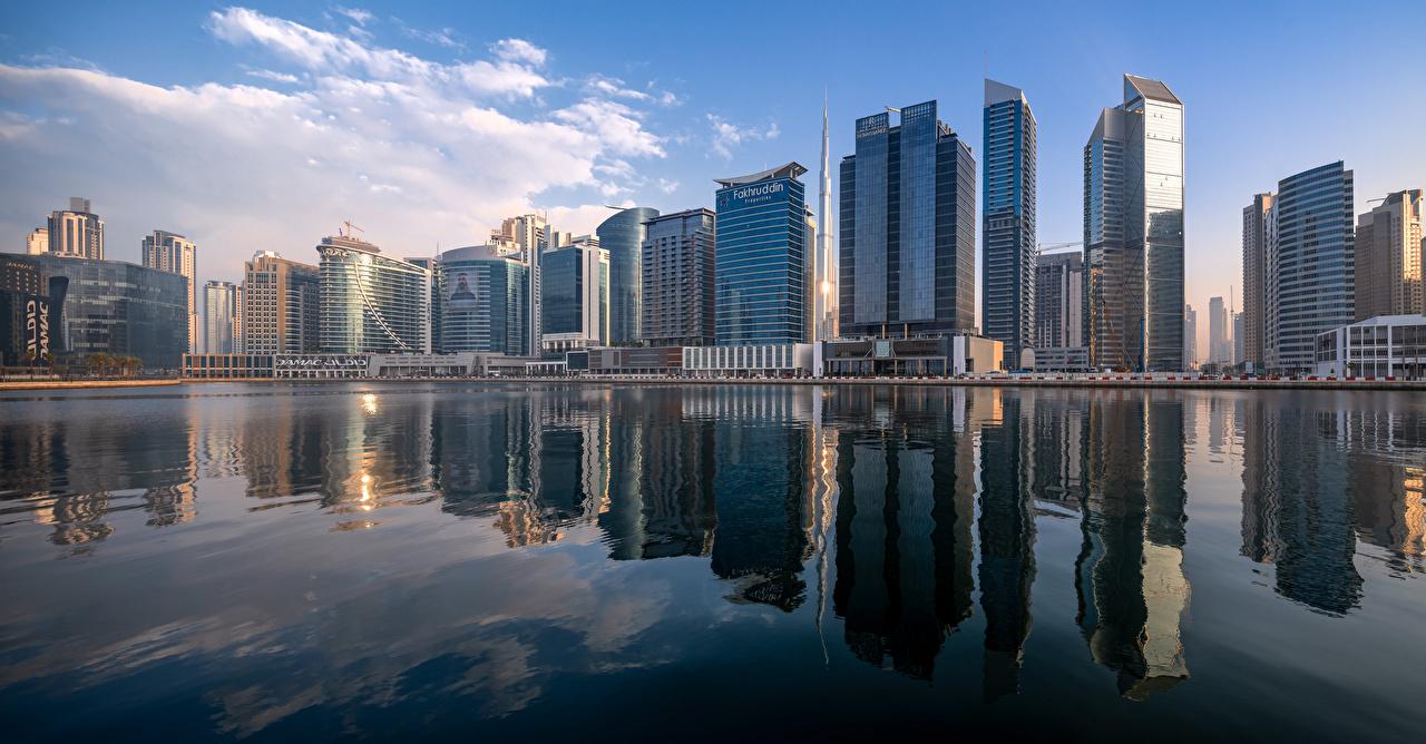 Wallpaper Cities Dubai Emirates UAE Business Bay Skyline Skyscrapers Houses panoramic Building Panorama