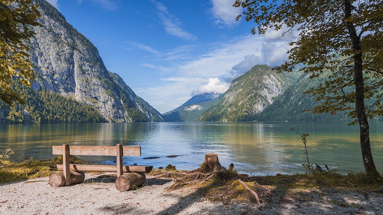 Photo Bavaria Germany Nature Mountains Lake landscape photography Bench mountain Scenery