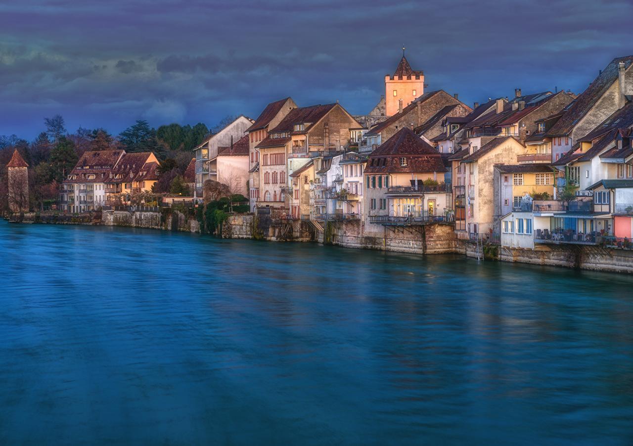 Desktop Hintergrundbilder Schweiz Rheinfelden, Aargau HDR Abend Flusse Haus Städte HDRI Fluss Gebäude