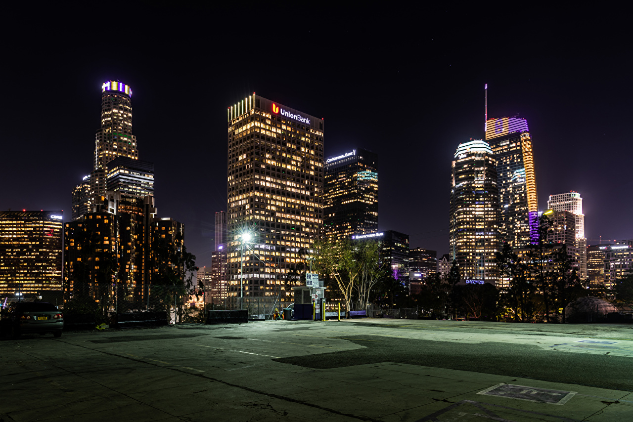 Images Los Angeles USA Evening Street lights Houses Cities Building
