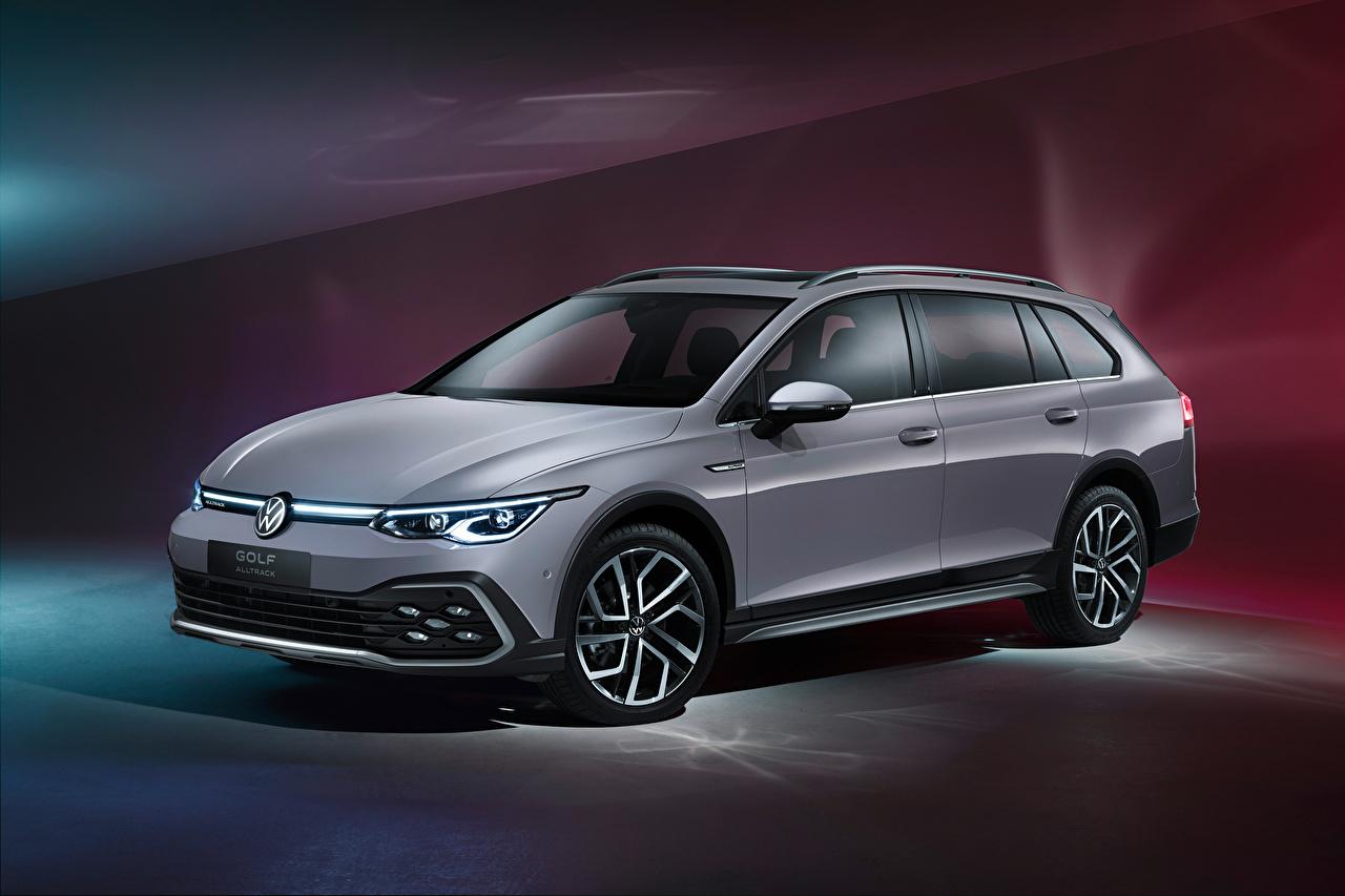 Desktop Hintergrundbilder Volkswagen Kombi Golf Alltrack, 2020 graue auto Metallisch Grau graues Autos automobil