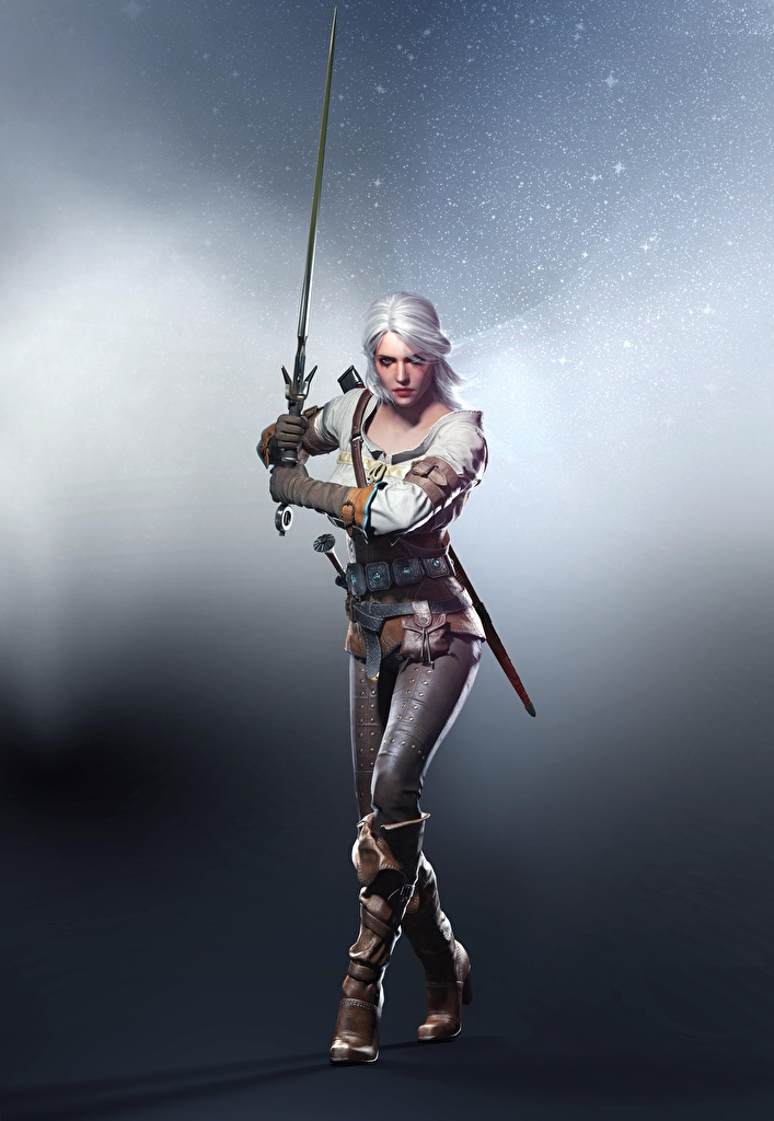 Fotos The Witcher 3: Wild Hunt Ciri Schwert Blondine Krieger Pose Fantasy Mädchens computerspiel  für Handy Blond Mädchen posiert junge frau junge Frauen Spiele