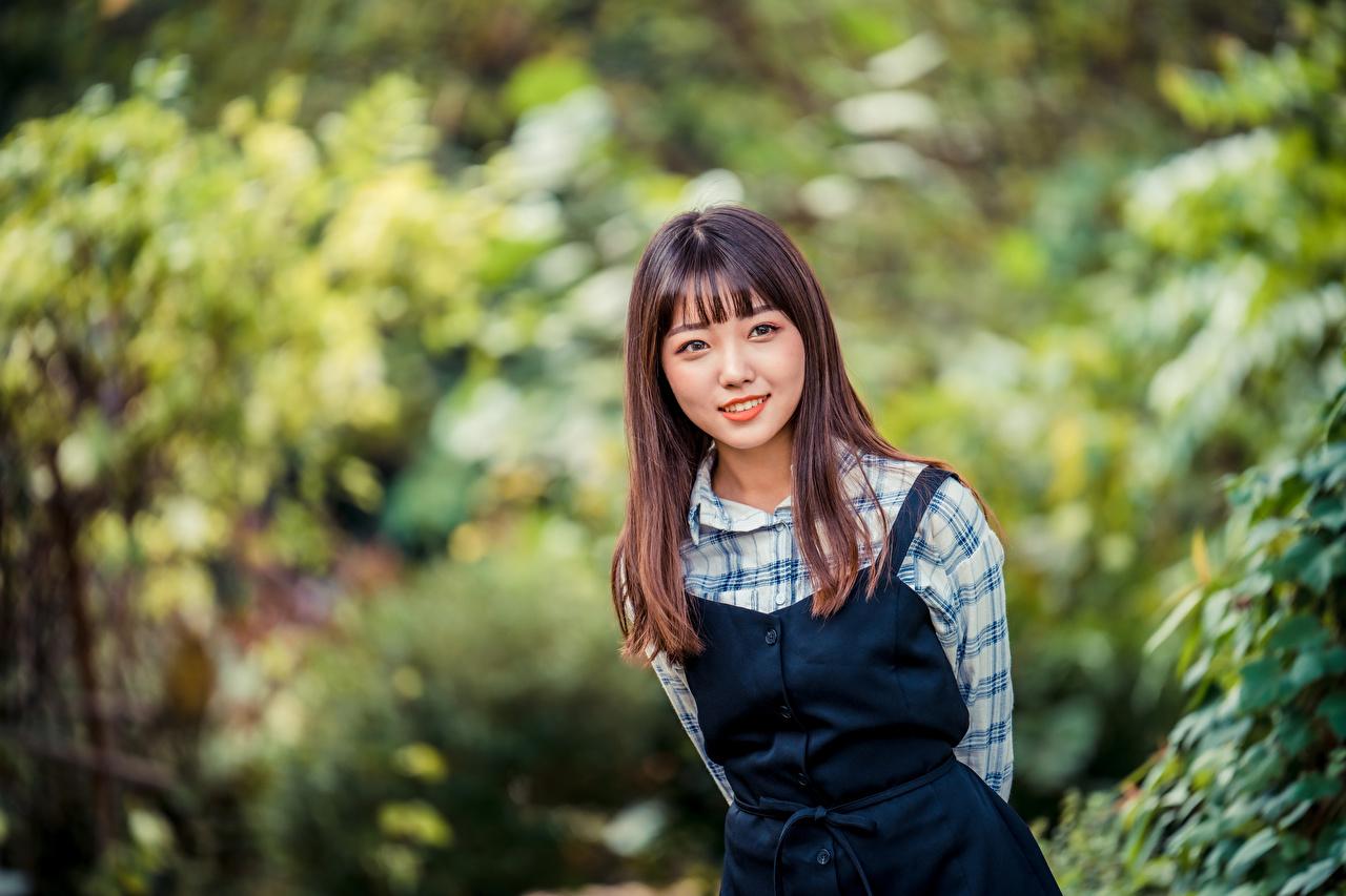 Foton Brunhårig tjej Leende Bokeh Unga kvinnor asiatisk suddig bakgrund ung kvinna Asiater