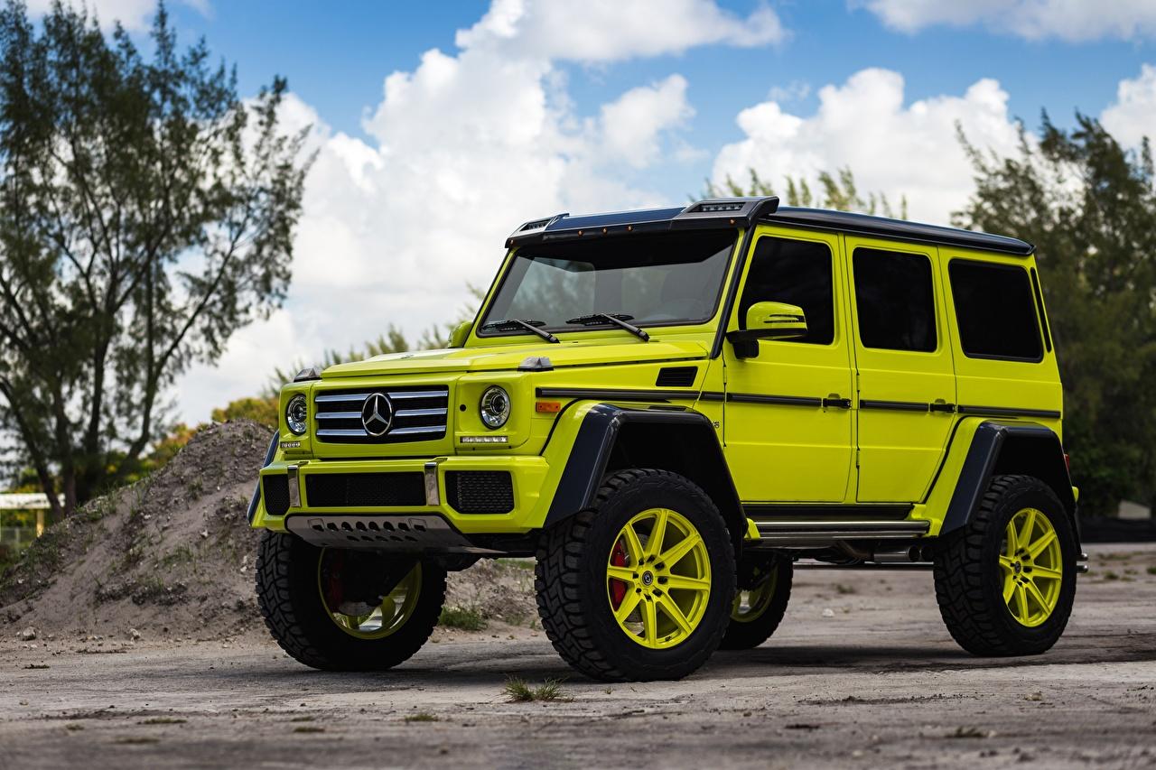 Bilder Mercedes-Benz G-Klasse 4x4 HRE G550 TR188 Gelb grüne auto G-Modell hellgrüne Autos automobil