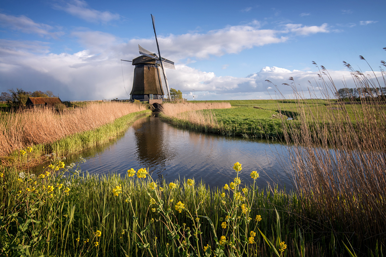 Photo Netherlands Mill Canal Nature Clouds windmill windmills