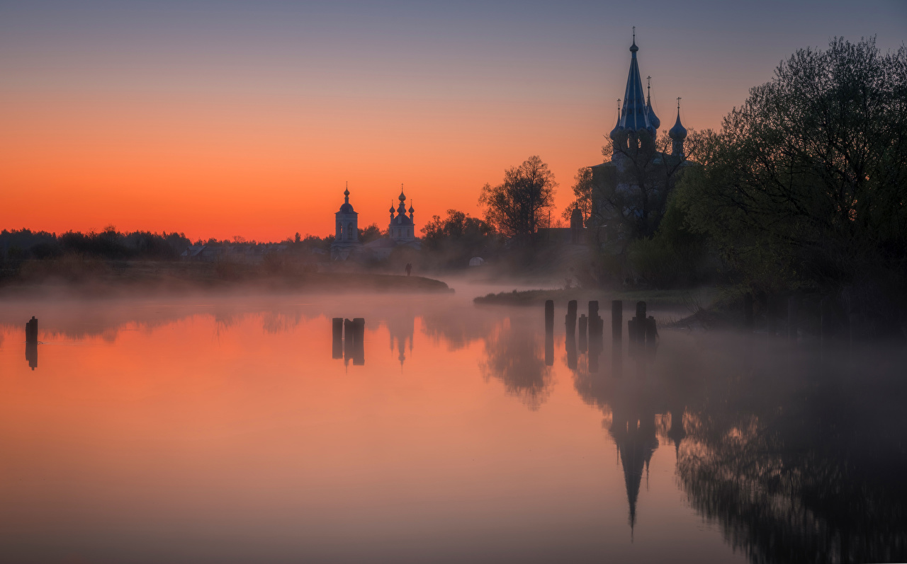 Picture Russia Dunilovo, Shuisky district, Ivanovo region, Church Intercession Most Holy Theotokos Fog Nature Reflection sunrise and sunset Rivers reflected Sunrises and sunsets river