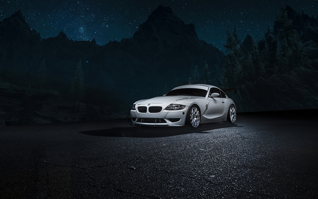 Photo BMW Z4M White auto night time Cars Night automobile