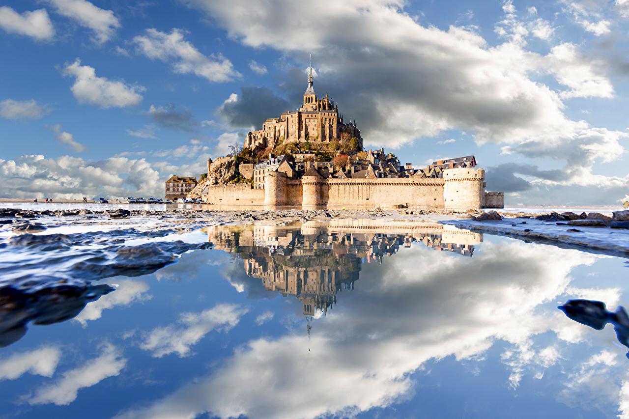 Picture France Fortress Le Mont-Saint-Michel Nature Castles Reflection Coast Clouds Fortification castle reflected