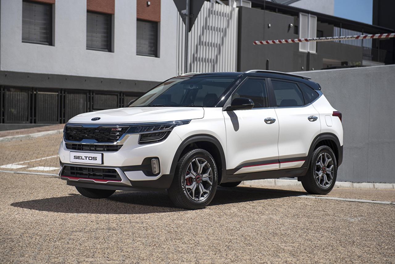 Image KIA Crossover Seltos GT-Line 2019 White Metallic automobile CUV Cars auto