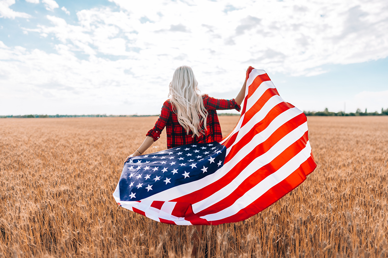 Image USA Blonde girl Girls Flag Fields Back view female young woman
