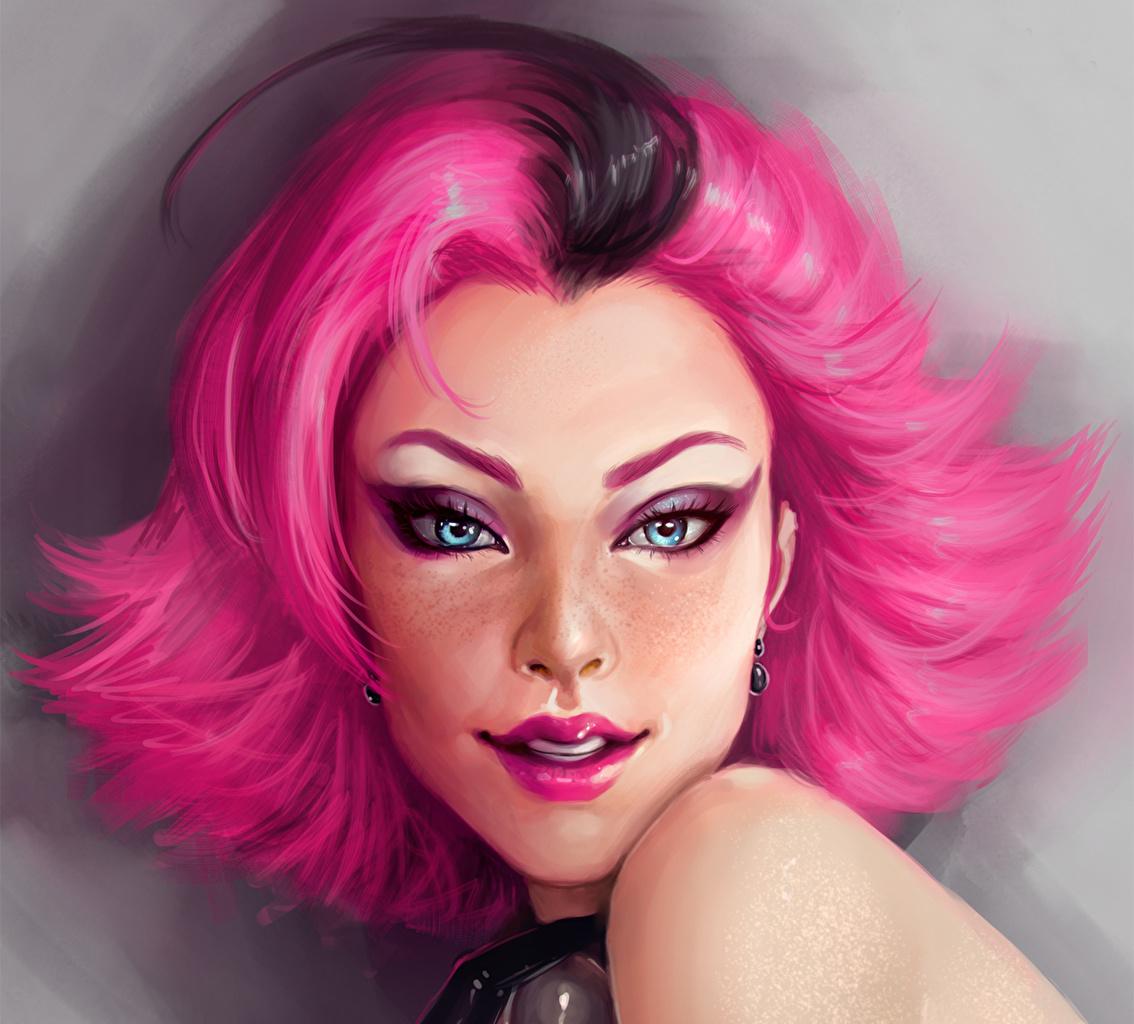Фотографии улыбается лица Волосы розовых Фантастика молодые женщины Живопись смотрят Рисованные Улыбка Лицо волос розовая розовые Розовый Фэнтези девушка Девушки молодая женщина картина Взгляд смотрит