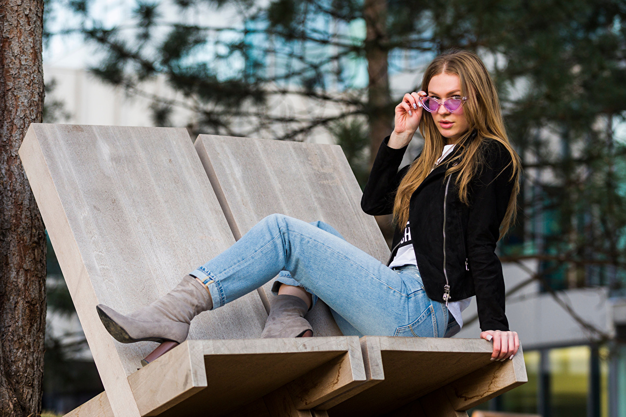 Picture Lidija Girls Jacket Jeans sit Glasses Staring female young woman Sitting eyeglasses Glance