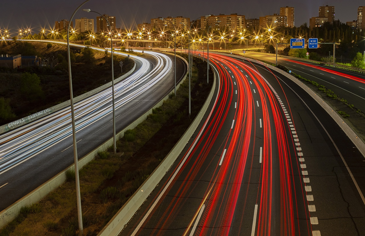 Picture Madrid Spain M-40 Highway Roads Motion night time Street lights Cities moving riding driving at speed Night