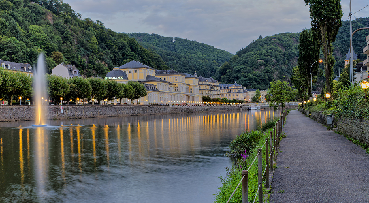 Wallpaper Germany Bad Ems Mountains Fence Rivers Evening Street lights Houses Cities mountain river Building