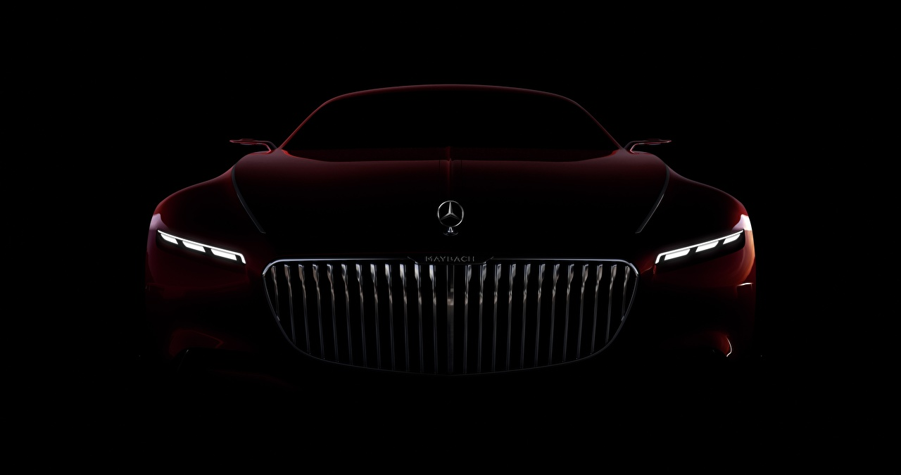 Picture Mercedes-Benz Maybach Vision 6 maroon Front automobile Black background dark red burgundy Wine color Cars auto