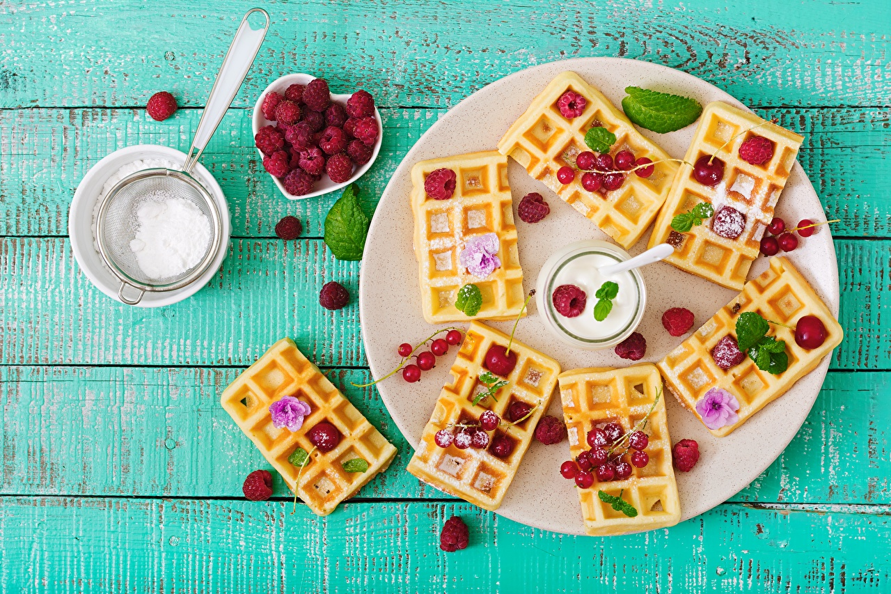 Image Waffles Powdered sugar Raspberry Food Plate boards waffle Wood planks