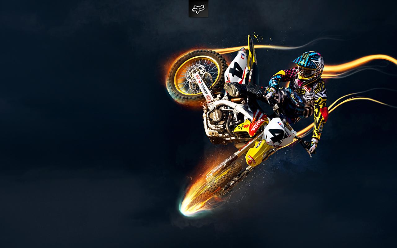 ,铃木摩托车,摩托車騎士,跳,摩托車,