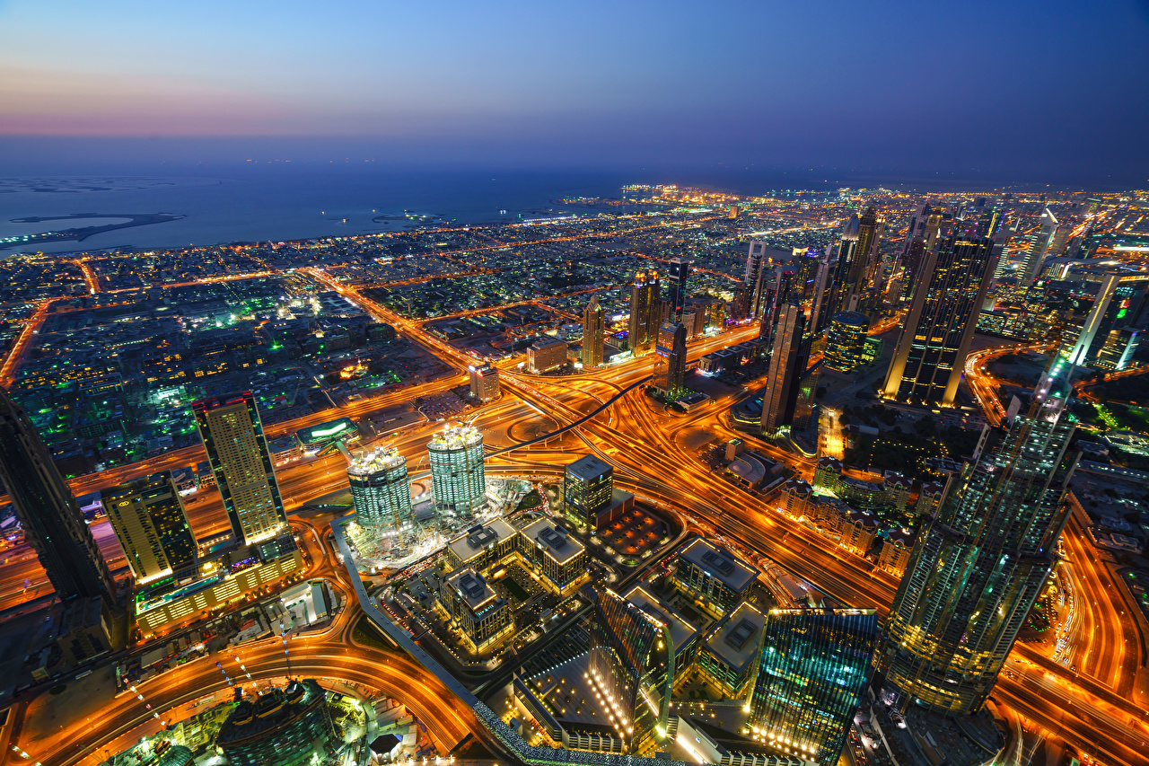Image Dubai Emirates UAE Burj Khalifa Night From above Skyscrapers Cities Building night time Houses