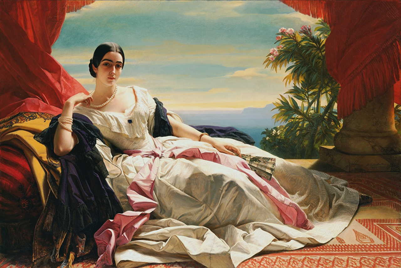 Picture Brunette girl laying Franz Xaver Winterhalter, Princess Leonilla Hand fan necklaces young woman Hands Pictorial art gown esting Lying down Girls female Necklace frock Dress