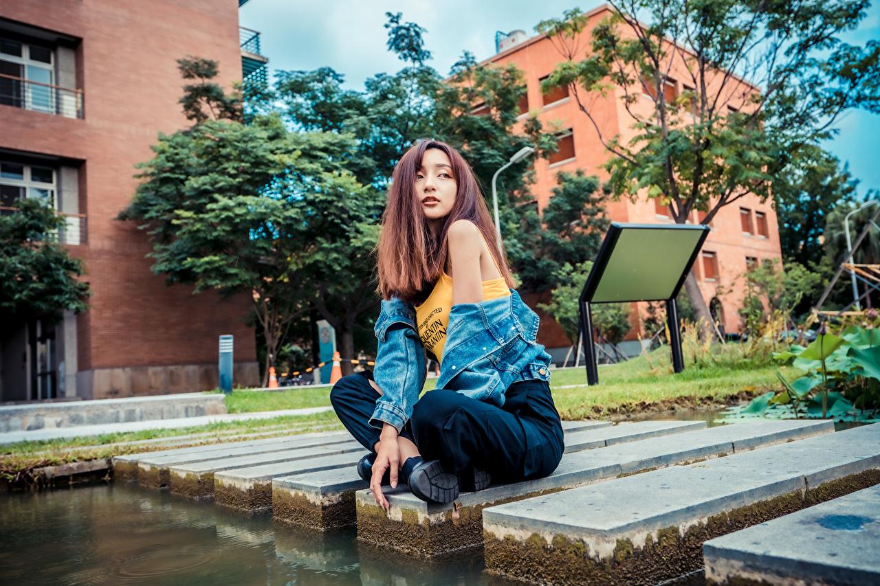 zdjęcie dziewczyna z brązowymi włosami pozować młoda kobieta Azjaci Siedzi Spojrzenie Szatenka brązowowłosa dziewczyna Poza dziewczyna Dziewczyny młode kobiety azjatycka siedzą wzrok