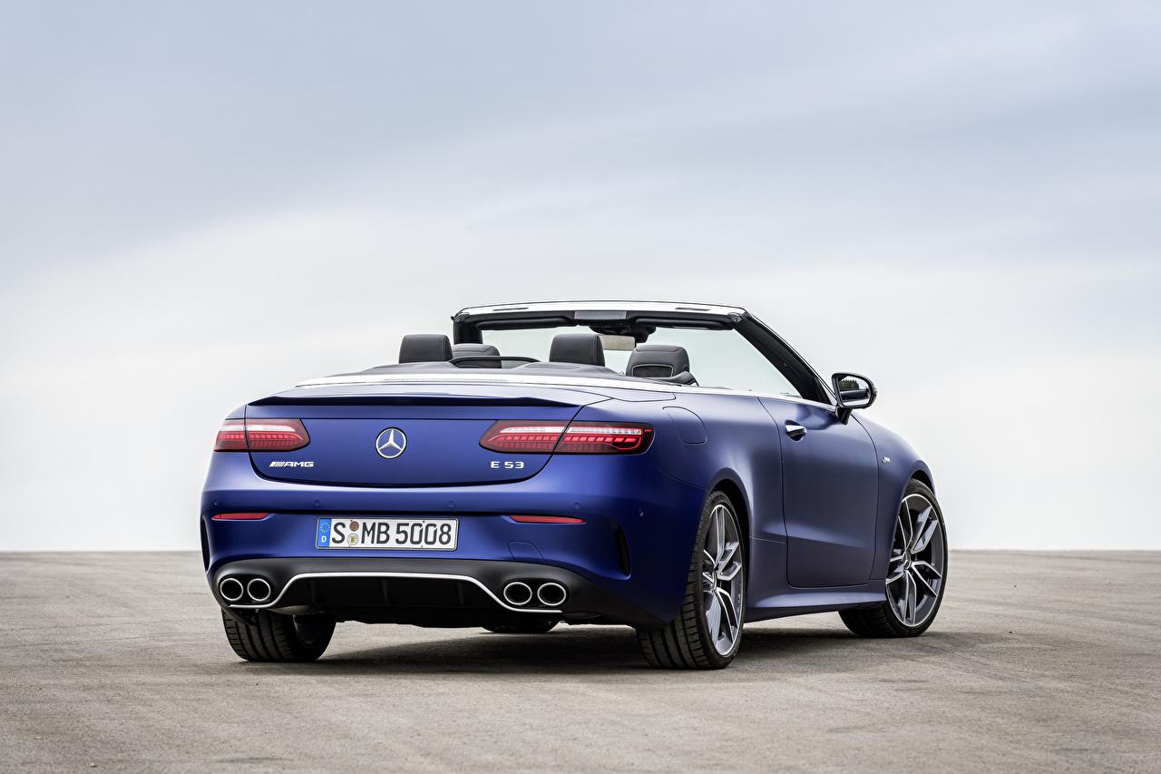 Desktop Wallpapers Mercedes-Benz E 53 4MATIC, Cabrio Worldwide, A238, 2020 Convertible Blue Cars Metallic Back view Cabriolet auto automobile