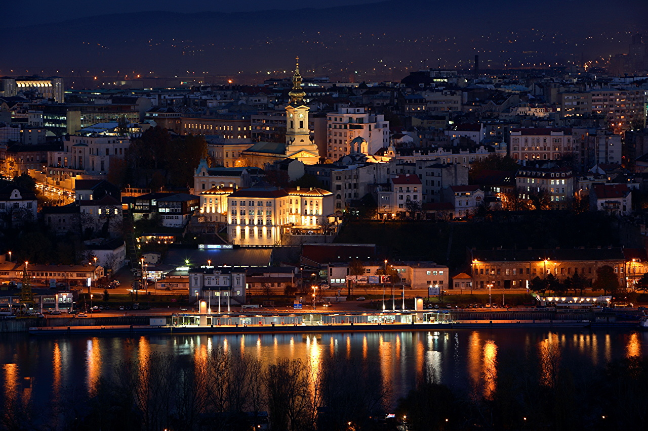 Desktop Wallpapers Serbia Beograd night time Cities Building Night Houses