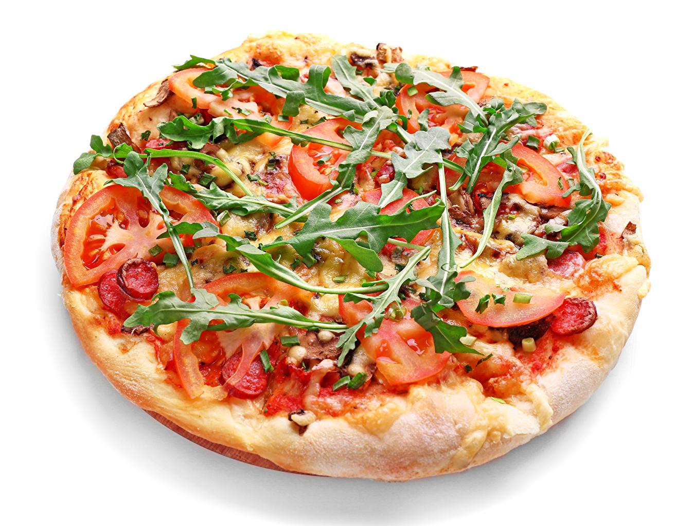 Bilder Pizza Fast food Gemüse Lebensmittel Weißer hintergrund das Essen