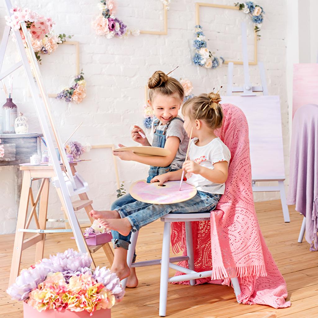 Photo Little girls Smile Children Two sit child 2 Sitting