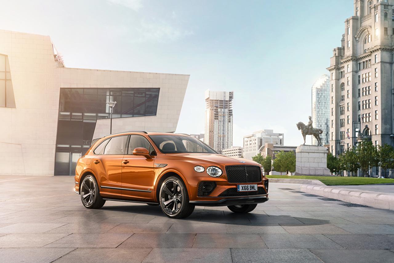 Pictures Bentley Crossover Bentayga V8 Worldwide, 2020 Orange Cars Metallic CUV auto automobile