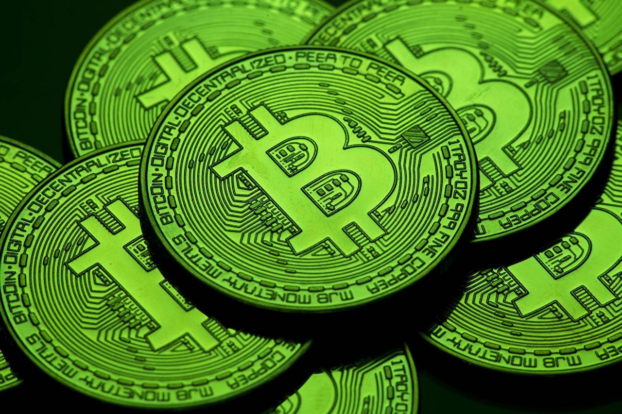 Bitcoin De cerca Monedas Verde