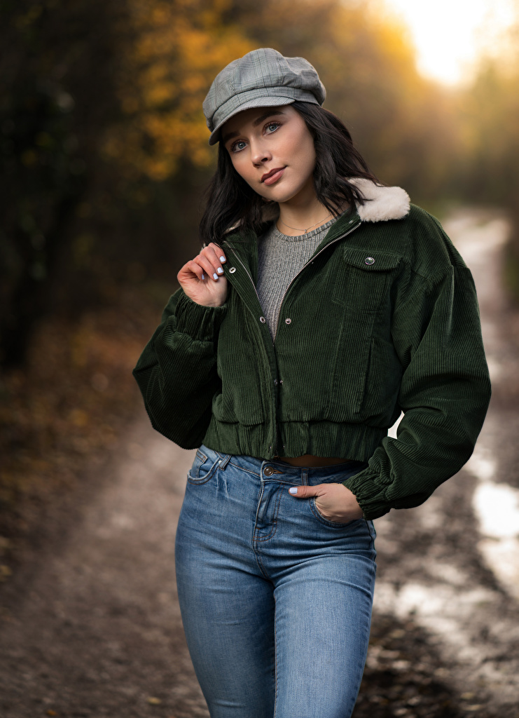 Wallpaper Brunette girl Emma Victoria Pose Girls Jacket Jeans Staring Baseball cap  for Mobile phone posing female young woman Glance