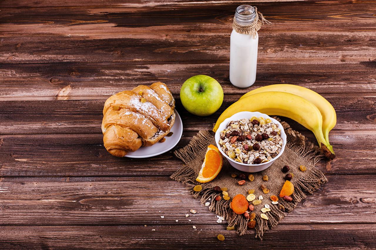 Photos Milk Breakfast Croissant Apples Bananas Food Bottle Muesli Dried fruit Wood planks Boards