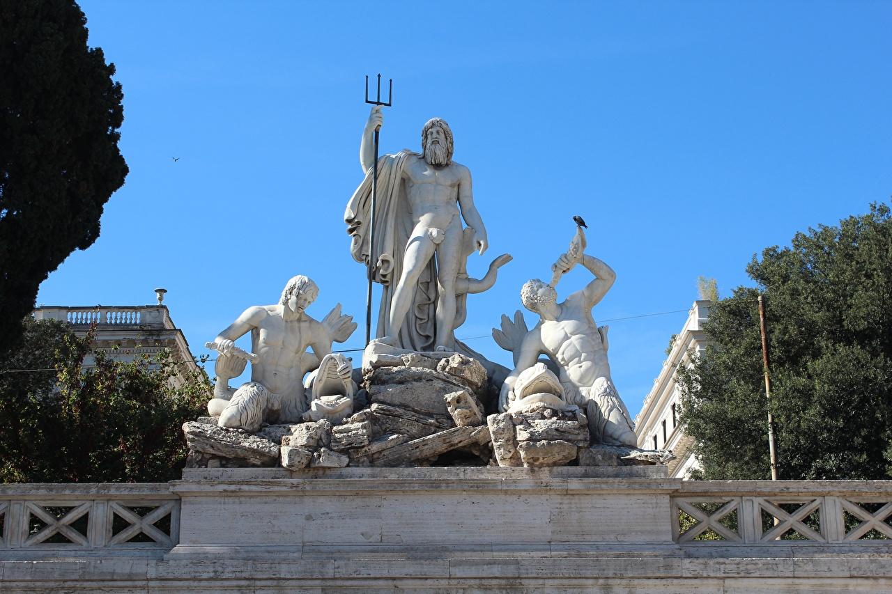 Fotos Rom Dreizack Italien Mann Piazza del Popolo Städte Skulpturen