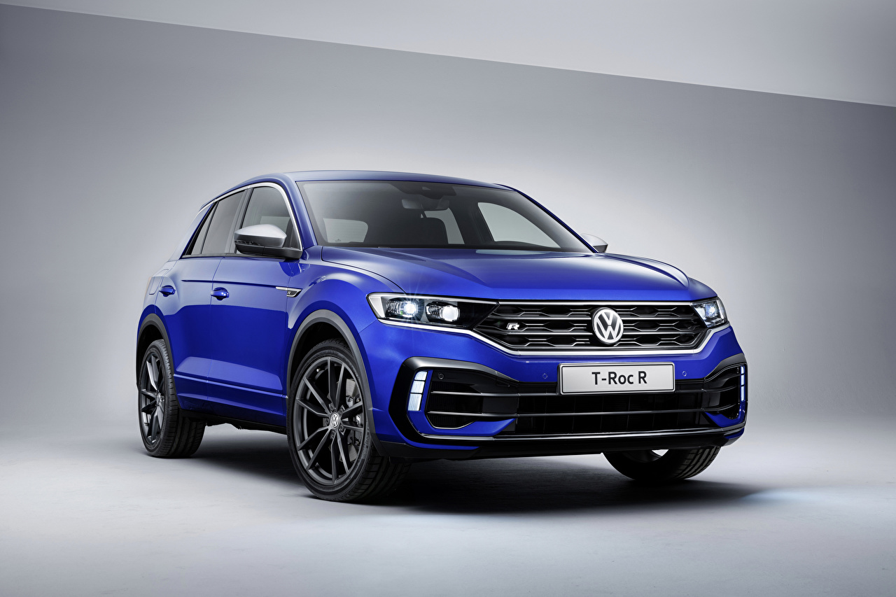 Desktop Wallpapers 2019 Volkswagen T-Roc R Worldwide Blue Cars auto automobile