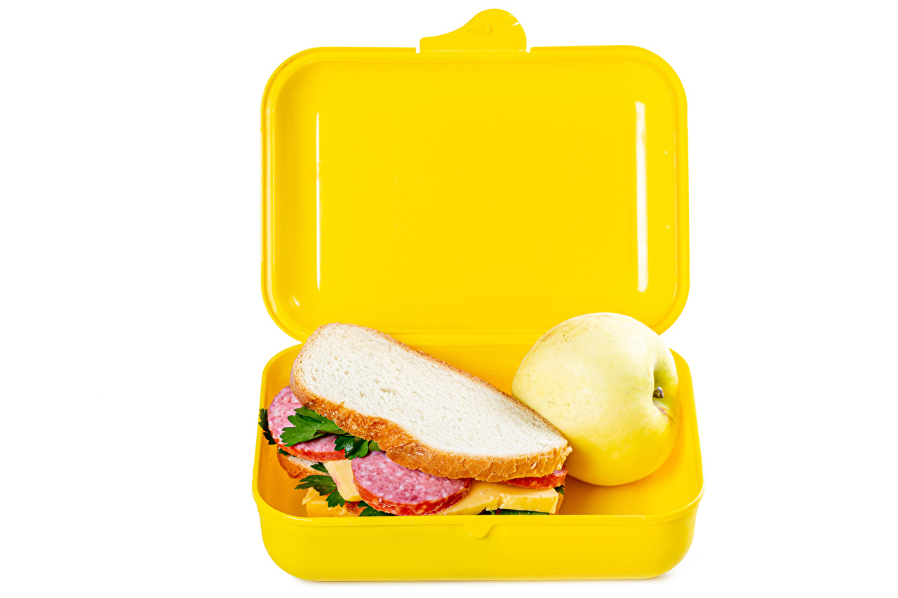 Image Sausage Sandwich Box Bread Apples Food White background