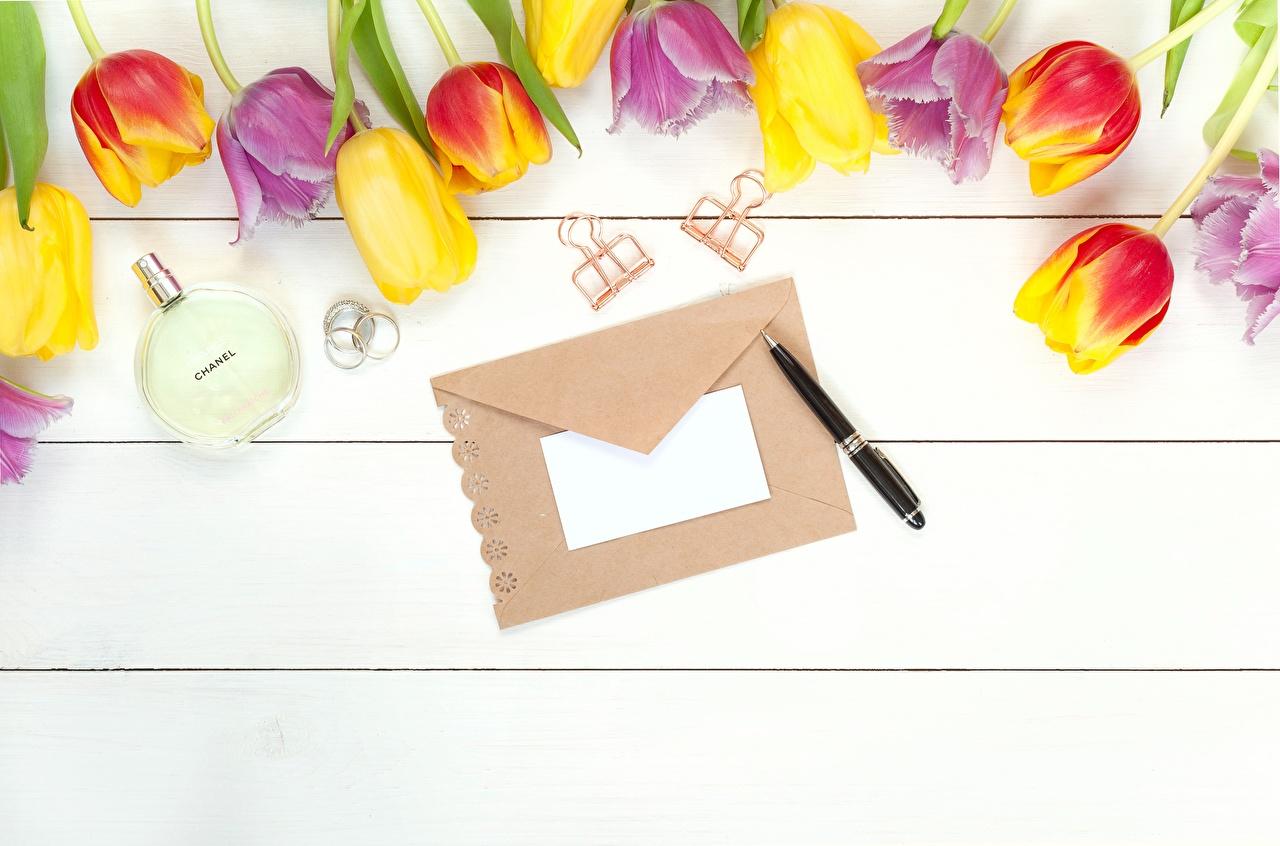 Photo Ballpoint pen Envelope tulip flower Template greeting card Wood planks Tulips Flowers boards