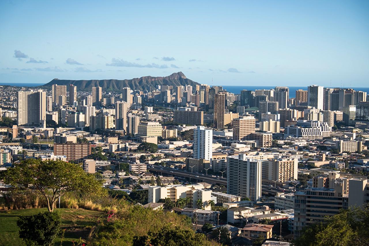 Image Hawaii USA Honolulu, Oahu mountain From above Cities Building Mountains Houses