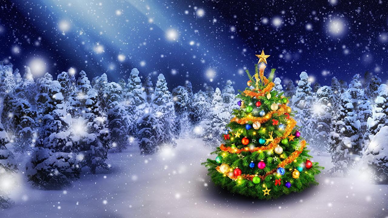 壁紙 新年 クリスマスツリー 雪 ダウンロード 写真